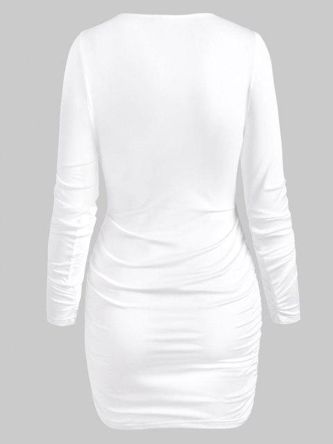 Robe Moulante Découpée Nouée à Manches Longues - Blanc XL Mobile