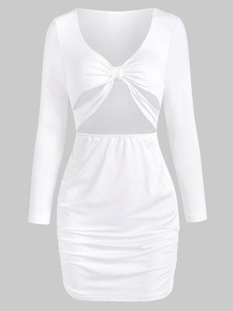 Verknotetes Ausschnitt Langarm Bodycon Kleid - Weiß L Mobile