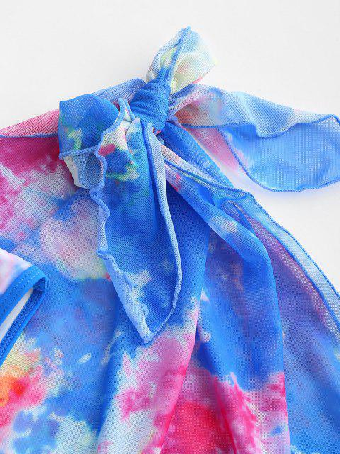 chic ZAFUL Tie Dye Binding Bikini with Sarong Skirt Set - BLUE M Mobile