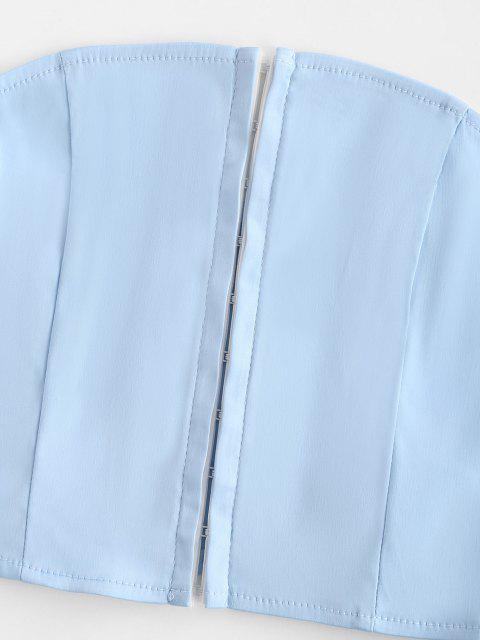 Haut Court Tube Au Crochet en Satin - Bleu clair L Mobile