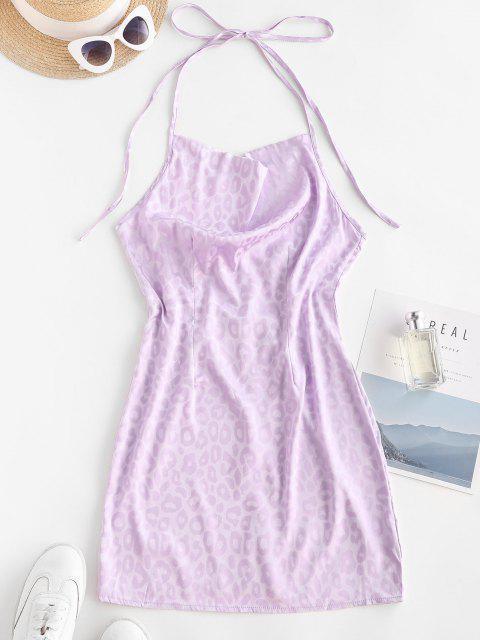 Mini Vestido Espalda Abierta Drapeado Leopardo - purpúreo claro L Mobile