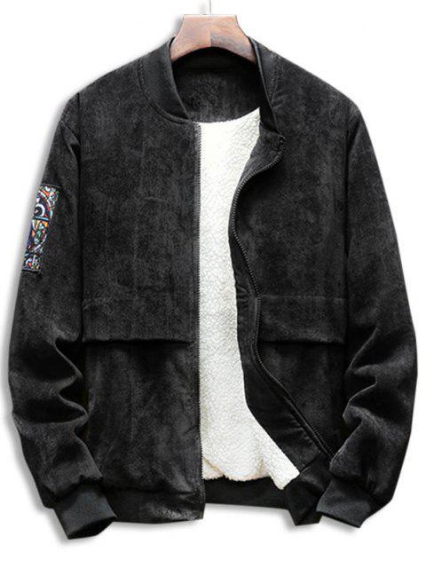 グラフィックジップアップフリースコーデュロイのジャケットを裏地 - ブラック XS Mobile
