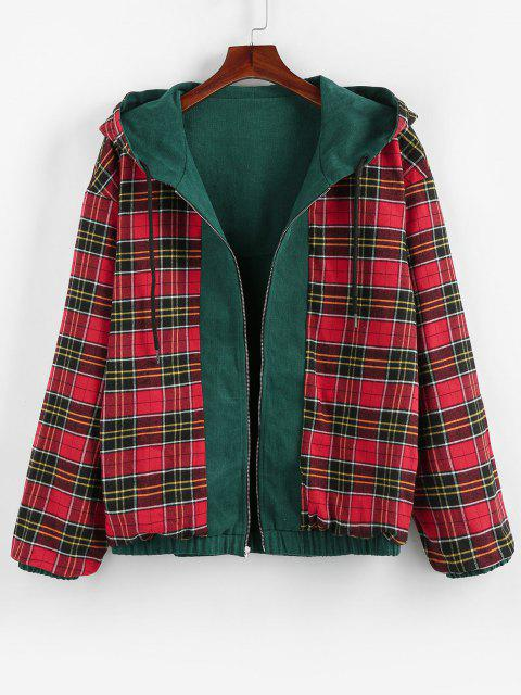 sale ZAFUL Hooded Plaid Print Reversible Jacket - MEDIUM SEA GREEN M Mobile