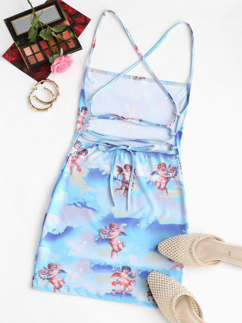 womens Angel Print Lace Up Renaissance Art Mini Dress - LIGHT BLUE L Mobile
