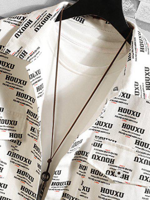Knopf Buchstabe Grafik Klappe Taschen Eleganz - Weiß 2XL Mobile
