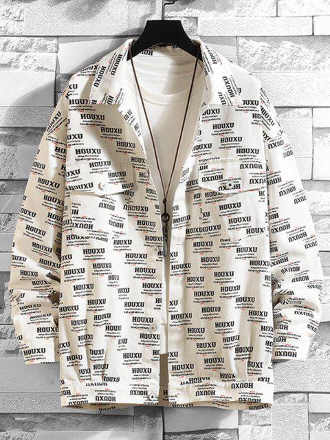 women Button Up Letter Graphic Flap Pockets Shacket - WHITE L Mobile
