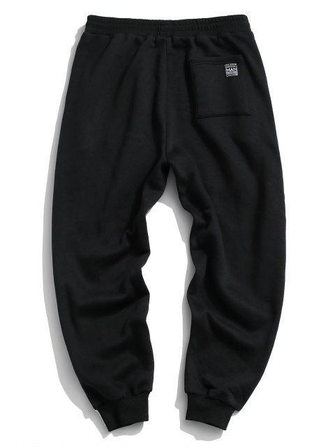 outfits ZAFUL Letter Applique Drawstring Fleece Sweatpants - BLACK 2XL Mobile