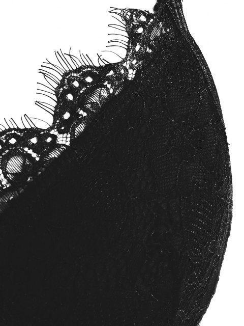 lady Scalloped Trim Eyelash Lace Plus Size Bralette - BLACK 4XL Mobile