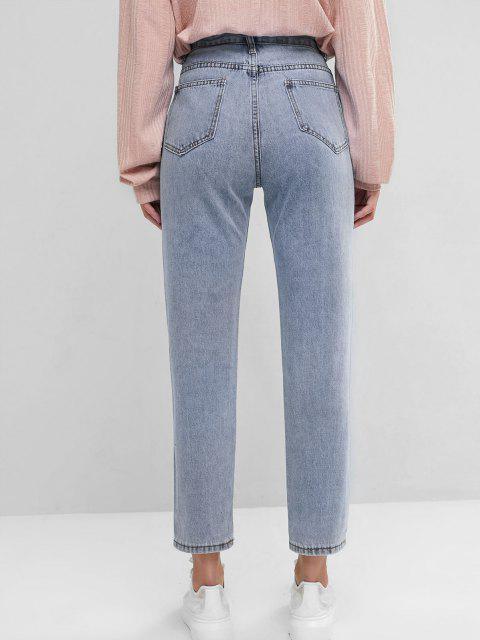 hot Basic Mom Jeans - SLATE BLUE M Mobile