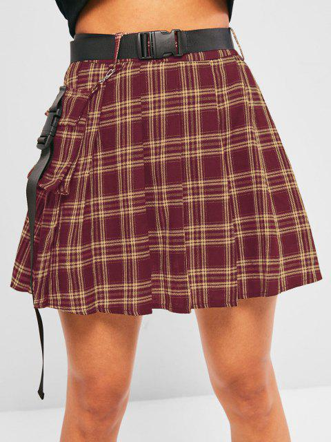 buy ZAFUL Plaid Pleated Detachable Pocket Mini Skirt - RED S Mobile