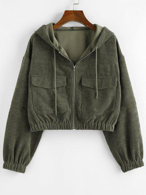 shops ZAFUL Corduroy Drop Shoulder Pocket Hooded Jacket - GREEN S Mobile