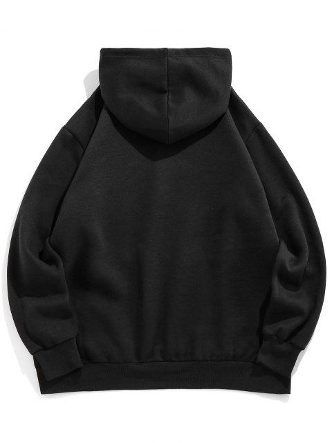 ladies ZAFUL Hanzi Embroidered Oriental Fleece Hoodie - BLACK L Mobile