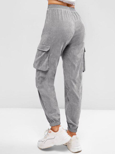 fashion ZAFUL Pockets Drawstring Corduroy Pants - LIGHT GRAY L Mobile