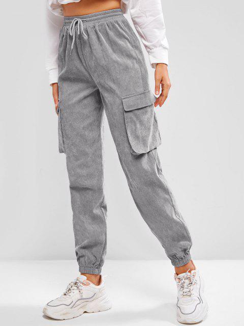 unique ZAFUL Pockets Drawstring Corduroy Pants - LIGHT GRAY M Mobile