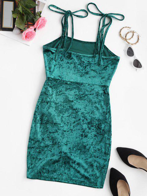 shops ZAFUL Tie Shoulder Velvet Mini Tulip Party Dress - GREENISH BLUE S Mobile