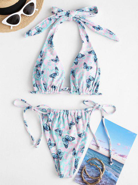 best ZAFUL Convertible Ribbed Butterfly Tie Side Tanga Bikini Swimwear - GREEN S Mobile