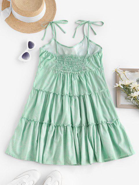 fashion Tie Leaf Print Smocked Back Tiered Sundress - LIGHT GREEN S Mobile