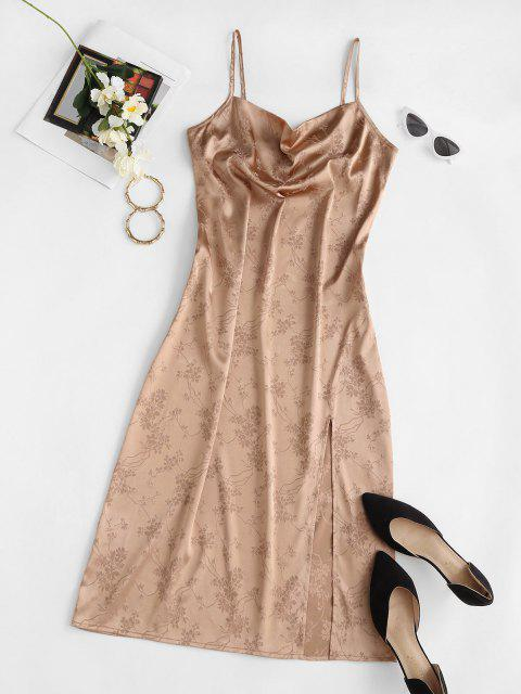 new ZAFUL Cowl Front Jacquard High Slit Party Dress - CHAMPAGNE GOLD L Mobile