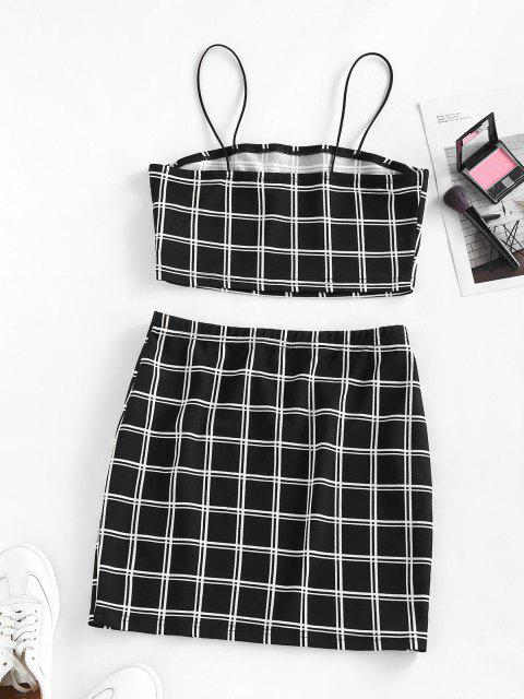 ZAFUL Windowpane Check Slit Mini Skirt Set - أسود S Mobile
