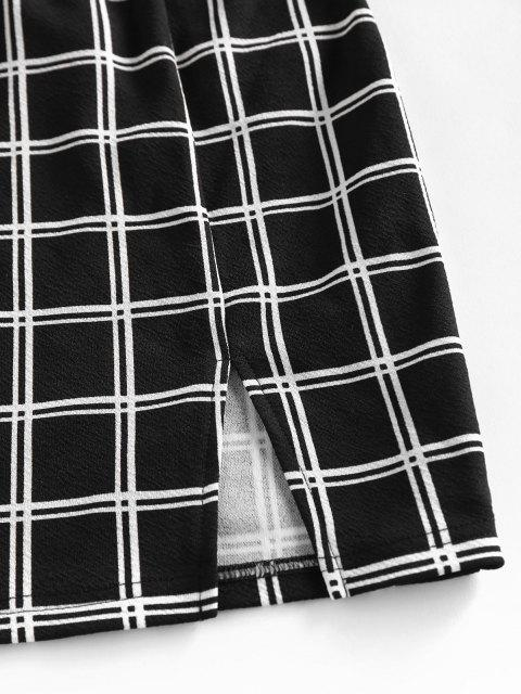 shop ZAFUL Windowpane Check Slit Mini Skirt Set - BLACK S Mobile