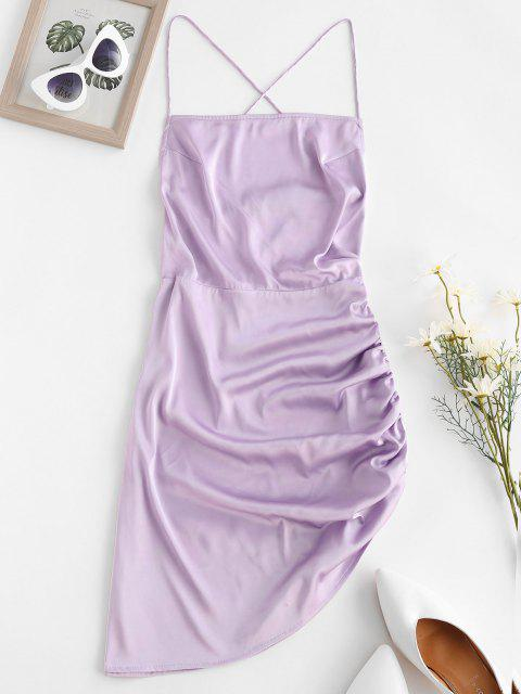 shops ZAFUL Crisscross Backless Ruched Asymmetric Bodycon Dress - LAVENDER BLUE S Mobile