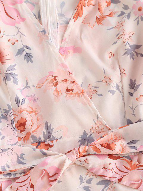Robe Superposée Ceinturée Fleurie à Manches Bouffantes à Volants - Multi L Mobile