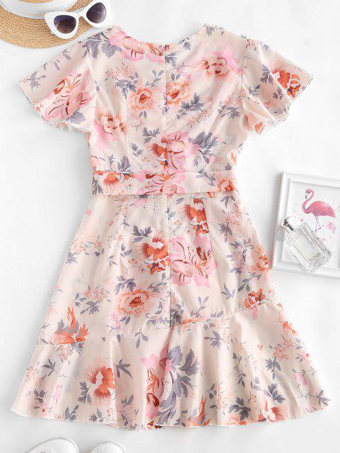 Floral Ruffles Belted Flutter Sleeve Surplice Dress - متعدد M Mobile