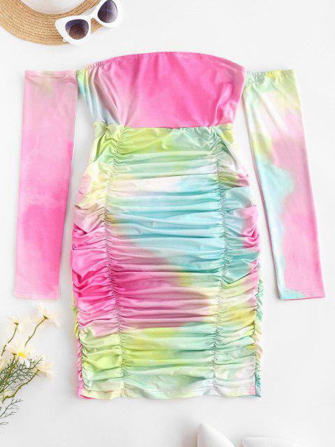 women Off Shoulder Tie Dye Ruched Mini Dress - MULTI S Mobile