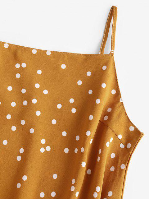 trendy Spaghetti Strap Polka Dot Ruffled Trapeze Dress - DEEP YELLOW M Mobile