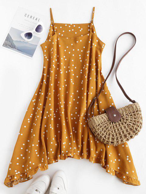 fashion Spaghetti Strap Polka Dot Ruffled Trapeze Dress - DEEP YELLOW S Mobile