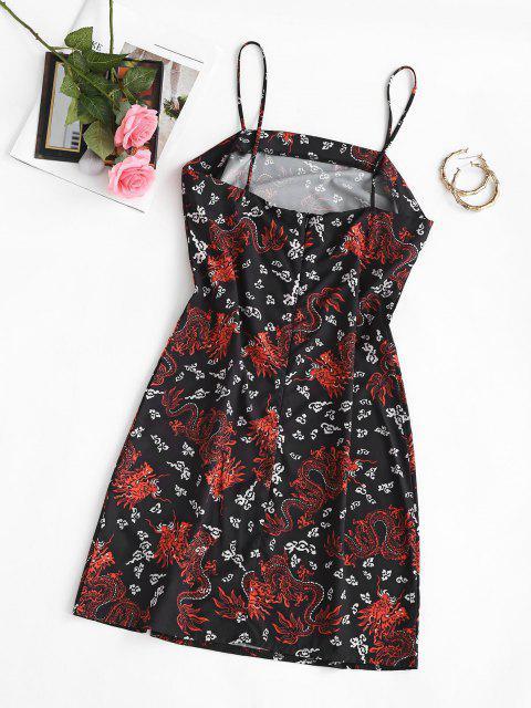 shop Spaghetti Strap Chinese Dragon Print Sheath Dress - BLACK M Mobile