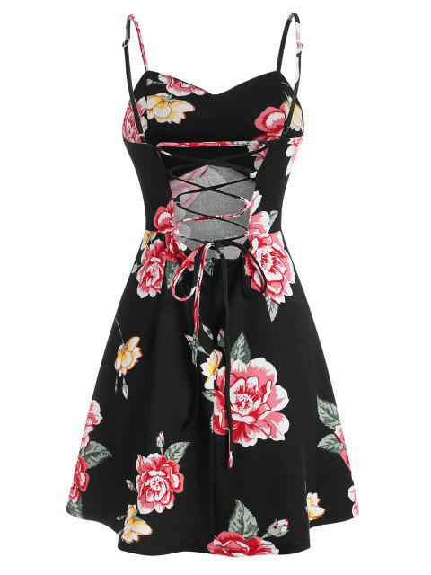 women ZAFUL Floral Print Lace Up Mini Cami Dress - BLACK S Mobile