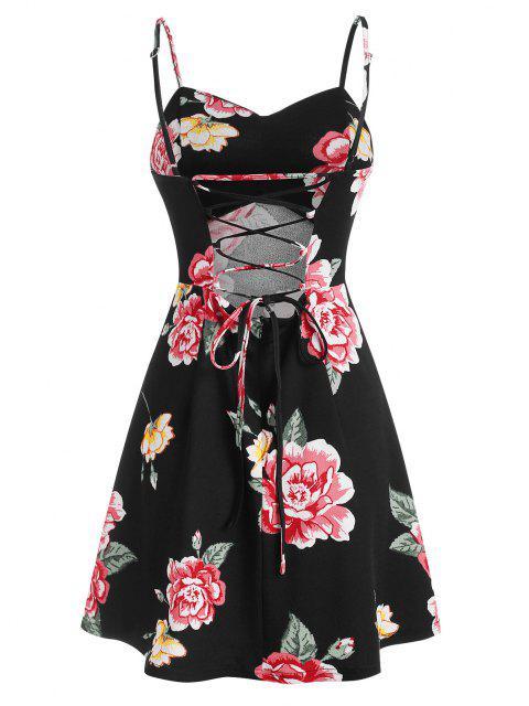 new ZAFUL Floral Print Lace Up Mini Cami Dress - BLACK L Mobile
