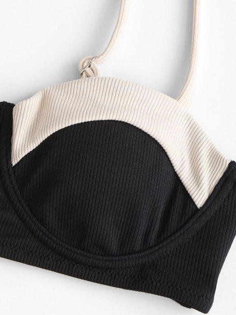 ZAFUL Farbblock Gerippter Bikini Badebekleidung mit Hohem Bein - Schwarz M Mobile