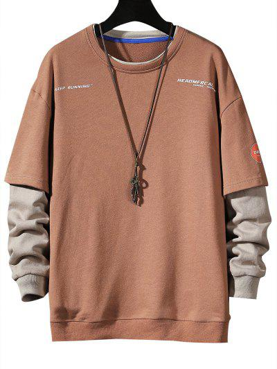 Keep Running Letter Print Faux Twinset Sweatshirt - Chestnut Red Xs
