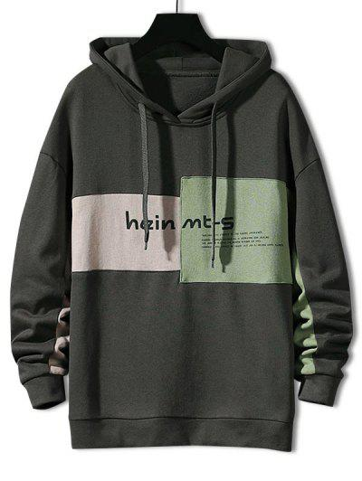 Colorblock Letter Patch Drawstring Hoodie - Gray L
