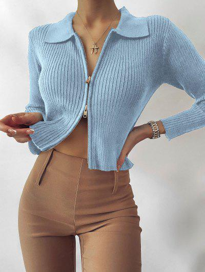 ZAFUL Zip Fly Ribbed Cardigan - Light Blue M