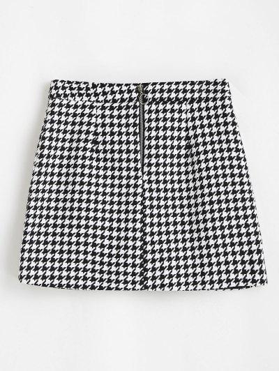 Houndstooth Zip Front Tweed Skirt - Black S