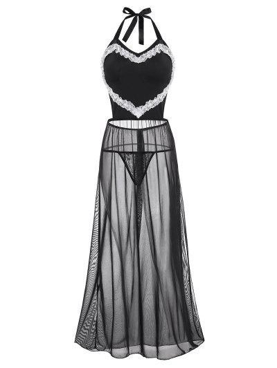 Tie Back Slit Mesh Lace Trim Plus Size Lingerie Dress - Black 1xl