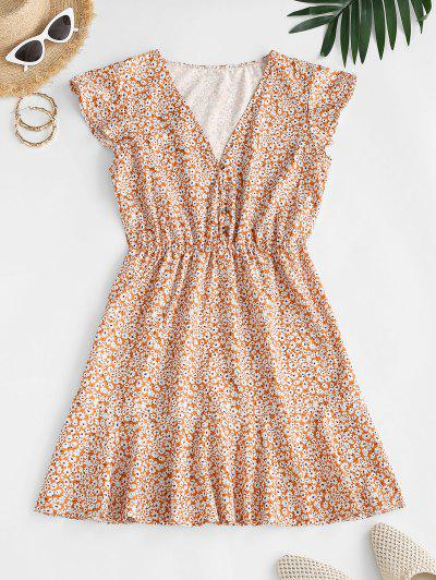 Ditsy Print Flounce A Line Dress - Deep Yellow S