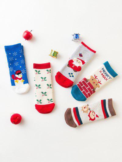 5 Pairs  Children Christmas Mid-calf Length Socks - Multi