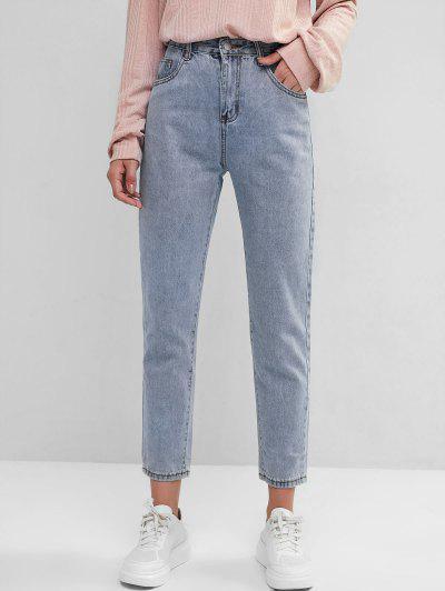Basic Mom Jeans - Slate Blue L