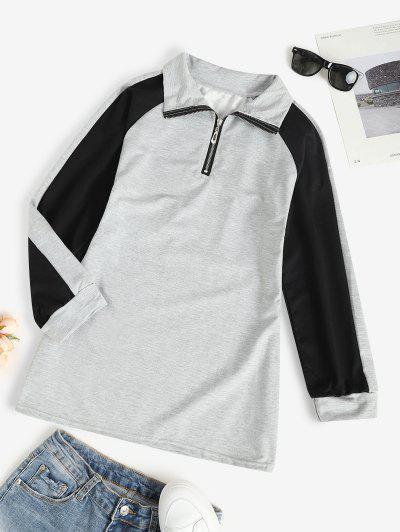 Zip Front Raglan Sleeve Tunic Sweatshirt Dress - Gray L