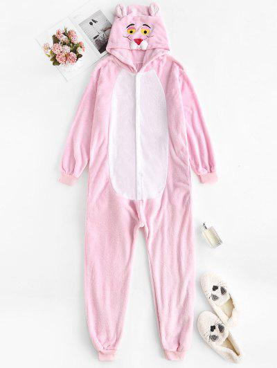 3D Ear Hooded Tiger Embroidered Sleep Plush Onesie - Light Pink Xl