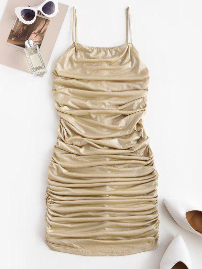 Vestido Cami Moderno Enrugado Bodycon Lótus - Profundo Amarelo M