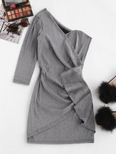 Metallic Thread Skew Neck Draped Mini Dress - Light Gray M