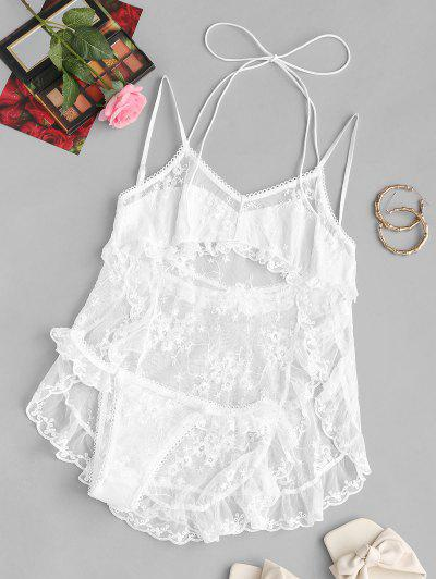 Ruffles Embroidered Mesh Bridal Lingerie Babydoll Set - White