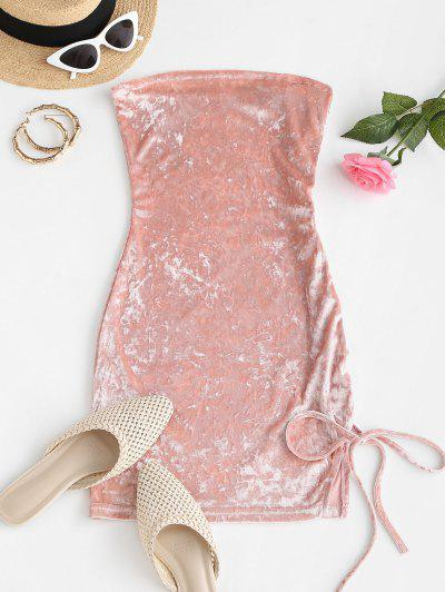 Lace Up Strapless Velvet Slit Mini Dress - Light Pink S