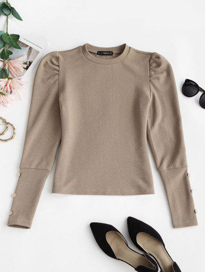 Metallic Buttons Solid Puff Sleeve Top - Light Coffee S