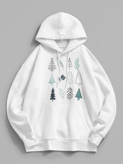 Christmas Tree Leaves Print Fleece Hoodie - White Xl
